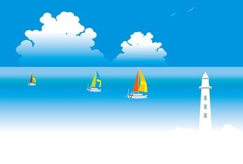 灯台とヨットのある夏の海の風景