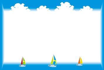 ヨットと夏空のフレーム枠
