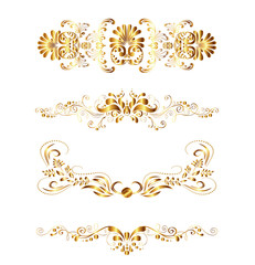 Elegant Gold Grame Floral Elements Vector illustration