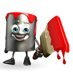 Paint Bucket Character with paint brush