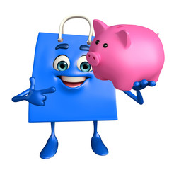 Shopping bag character with piggy bank