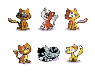 Funny Cats Cat Characters in 6 Different Styles
