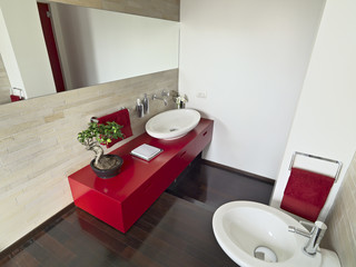 modern bathroom with red furniture