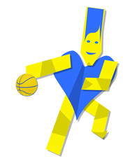 Illustration of heart man playing basket ball