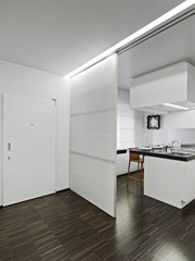modern kitchen overlooking on the entrance