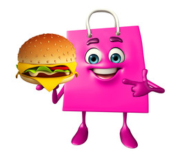 Shopping bag character with burger