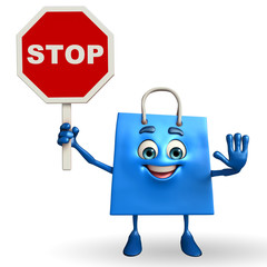 Shopping bag character with stop sign