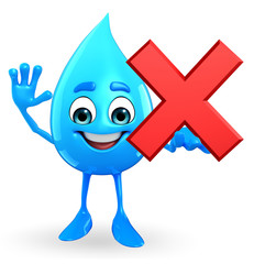 Water Drop Character with cross sign