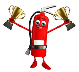 Fire Extinguisher character with trophy