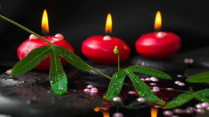 spa concept of passiflora branch, pearl beads and red candles on