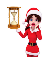 Santa Girl Character with sand clock