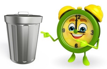 Table clock character with dustbin