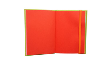Red page notebook on white background