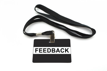 feedback badge isolated on white background