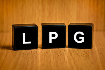LPG or liquefied petroleum gas word on black block