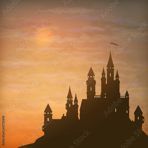 Fantasy Vector Castle Moonlight Sky - 67725848