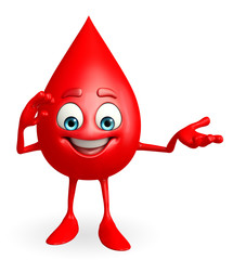 Blood Drop Character with salute pose