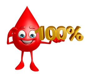Blood Drop Character with percent sign