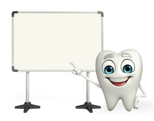 Teeth character with display board