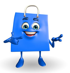 Shopping bag character with holding pose