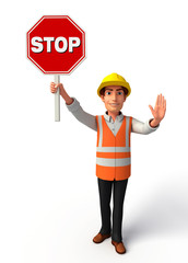 Young worker with stop sign