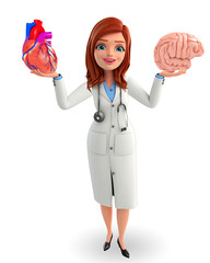 Young Doctor with heart and brain anatomy