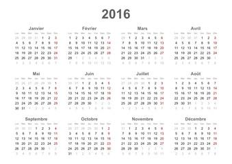 2016 french calendar