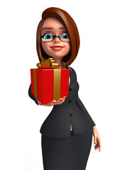 Young Business Woman with gift box