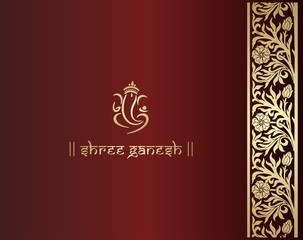 Ganesha, Hindu wedding card, royal Rajasthan, India