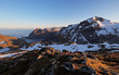 Mountain sunset panorama at autumn in Norway