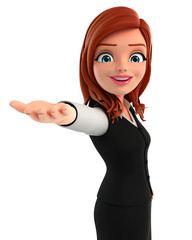 Young Business Woman with holding pose