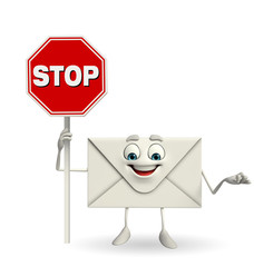 Mail Character with stop sign