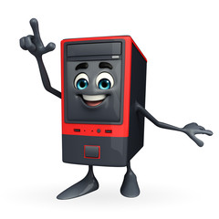 Computer Cabinet Character with pointing pose