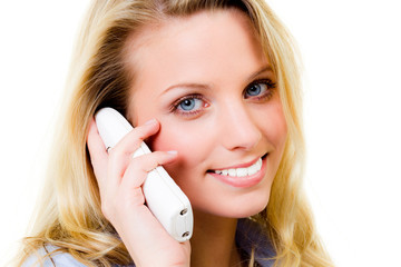 beautiful blonde woman having a phone call