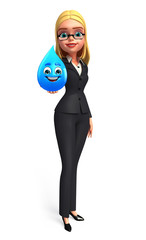 Young Business Woman with water drop