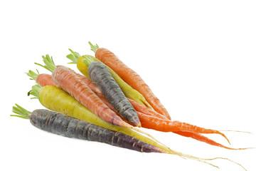 Rohe Möhren in verschiedenen Farben