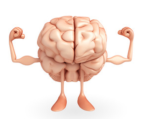 Brain Character with bodybuilding pose