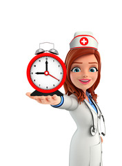 Nurse Character with table clock