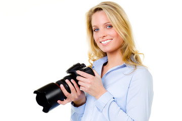 blonde woman with a digital camera