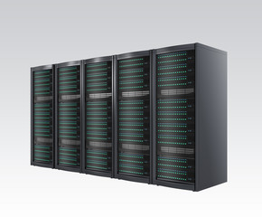 Row of blade server racks isolated on gray background