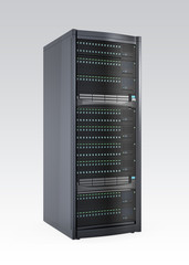 Single blade server rack isolated on gray background