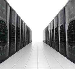 Rows of blade server racks on white background