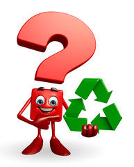 Question Mark character with recycle icon