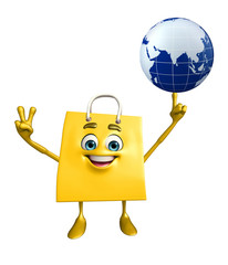 Shopping bag character with globe