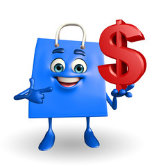 Shopping bag character with dollar sign