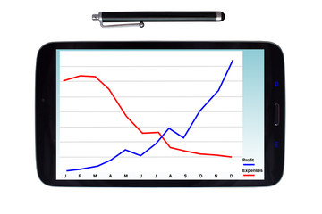 Tablet and stylus with profit graph