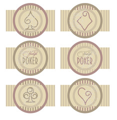 Vintage poker banners, vector illustration