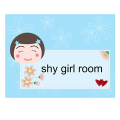 vector shy girl room label