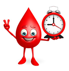 Blood Drop Character with table clock
