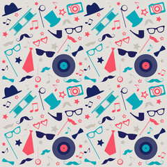 Retro background with mustaches, hats and sunglasses